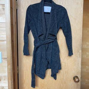 Gray Open Front Wrap Drape Cardigan w/Belt Pockets
